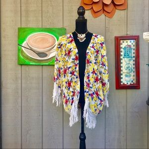 Zara Trafaluc floral fringe kimono size M.